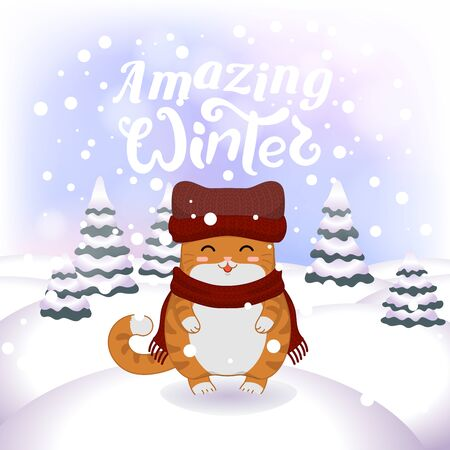 Winter vector illustration with cartoon animal character on the snowy landscape and snowfall background with a beautiful lettering inscription. Cute happy kitten with winter calligraphy text.