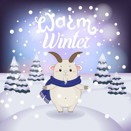 Winter vector illustration with cartoon animal character on the snowy landscape and snowfall background with a beautiful lettering inscription. Cute happy goat with winter calligraphy text.
