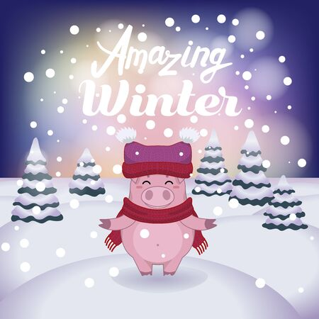 Winter vector illustration with cartoon animal character on the snowy landscape and snowfall background with a beautiful lettering inscription. Cute happy pig with winter calligraphy text.