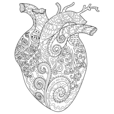 Adult coloring page for antistress art therapy with editable line. Human patterned heart in zendoodle style. Template for t-shirt, tattoo, poster or cover. Colouring book for Valentines day.