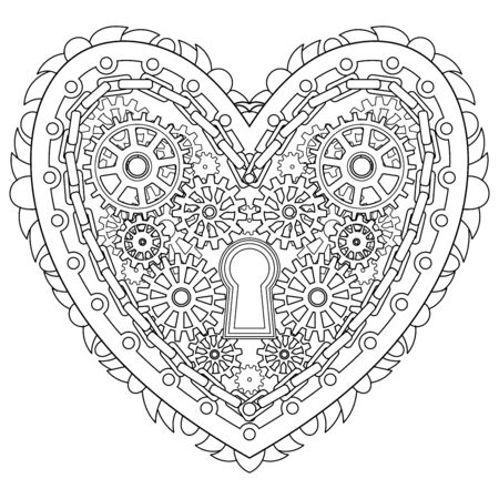 Adult coloring page for anti stress art therapy with editable line. Mechanical patterned heart in zentangle style. Template for t-shirt, tattoo, poster or cover. Colouring book for Valentines day. 向量圖像