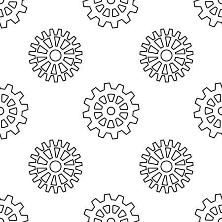 Vintage seamless pattern with gears for anti stress coloring book. Cog wheel technology endless texture for wrapping paper. Ilustracja