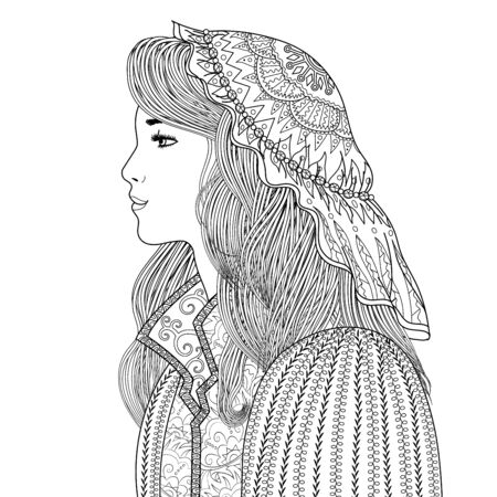 Coloring page for adults with beautiful fantasy lady in medieval dress. Coloring book with mysterious princess profile. Vector illustration