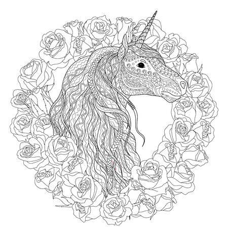 Adult coloring page for antistress art therapy. Beautiful unicorn with roses in tangled style for coloring. Ilustración de vector