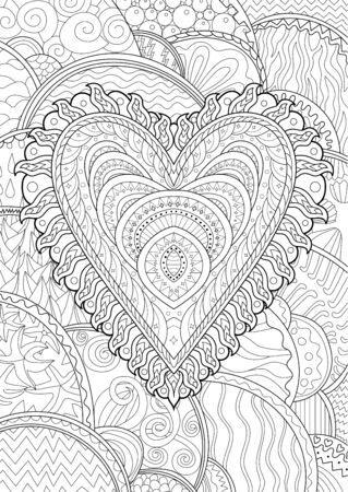 Illustration für Erwachsene mit schönem gemustertem Herzen zum Valentinstag