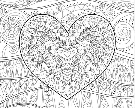 Illustration for adult with beautifull patterned heart for Valentines Day