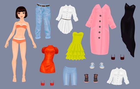 Paper doll of a pretty girl with a variety of paper clothes and shoes