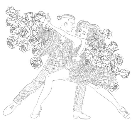 Beautifull dancing couple in a patterned outfit illustration.