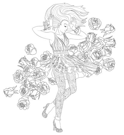 Beautiful dancing girl in a patterned dress illustration.
