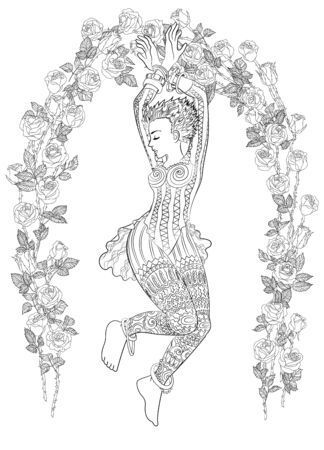 Beautiful dancing girl in a patterned dress illustration