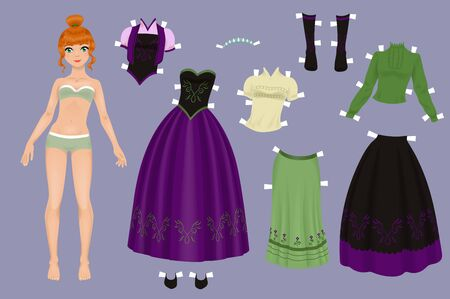 Paper doll of a pretty girl with a variety of frozen paper clothes and shoes