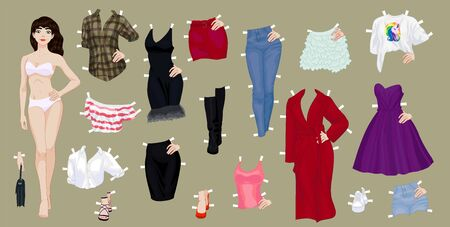 Paper doll of a pretty brunette girl with a variety of paper clothes and shoes Ilustracje wektorowe