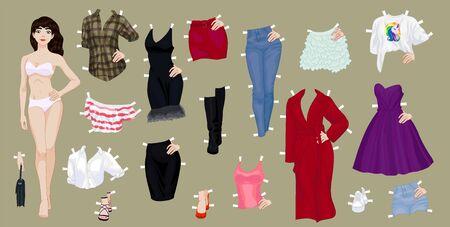 Muñeca de papel de una linda chica morena con una variedad de ropa y zapatos de papel Ilustración de vector