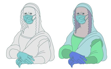 Illustration of Mona Lisa Gioconda Leonardo da Vinci who takes care of herself and does not want to get sick during the coronavirus epidemic