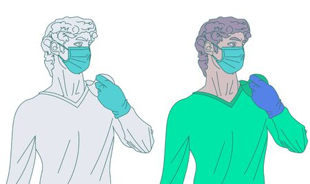 Illustration of Michelangelos David who takes care of herself and does not want to get sick during the coronavirus epidemic