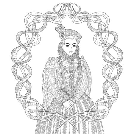 Coloring book for adults with beautiful medieval princess