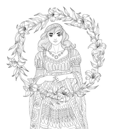 Coloring book for adults with beautiful medieval princess and a wreath of lilies