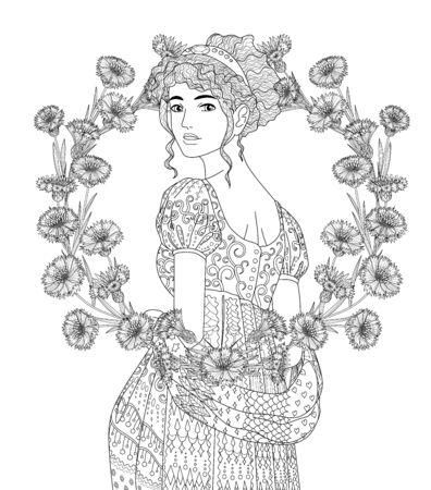 Coloring book for adults with beautiful lady in the empire style and a wreath of cornflowers