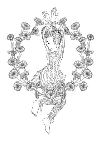 Beautifull dancing girl and a wreath of cornflowers in a patterned dress for coloring book for adults drawn in zentangle style