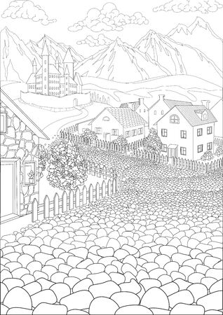 Coloring book for adults with cute village and beautiful castle in the background Иллюстрация