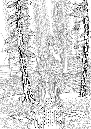 Coloring book for adults with the beautiful medieval lady standing in the coniferous forest