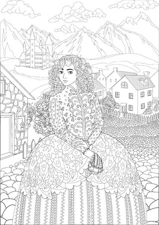 Coloring book for adults with beautiful medieval princess dressed in historical outfit stading in the cute village and beautiful castle in the background