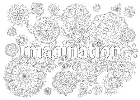 Vector coloring book for adults with inspiring text and mandala flowers in the zentagle style. 向量圖像