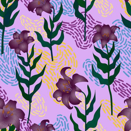 Seamless pattern with beautiful garden flowers - purple lilies. Repetition texture with botanic objects for wrapping paper, web background or textile design. Vector illustration