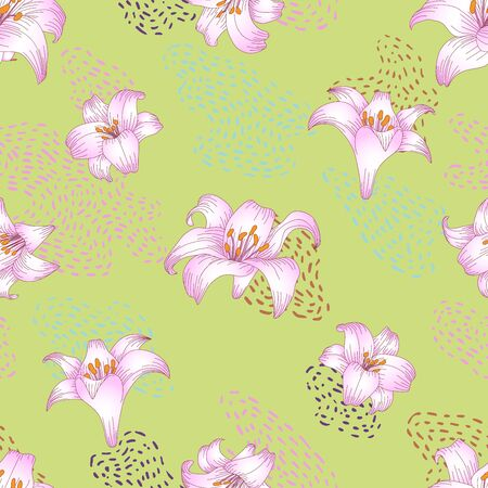 Seamless pattern with beautiful garden flowers - light pink lilies. Repetition texture with botanic objects for wrapping paper, web background or textile design. Vector illustration