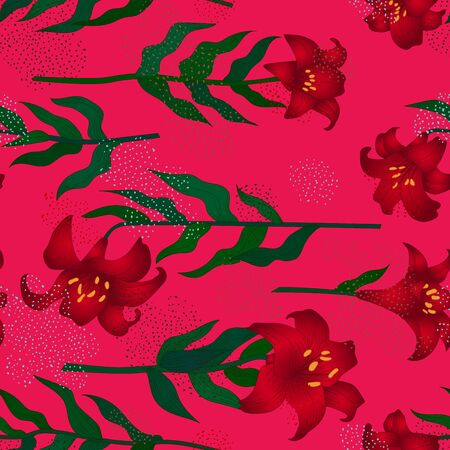 Seamless pattern with beautiful garden flowers - red lilies. Repetition texture with botanic objects for wrapping paper, web background or textile design. Vector illustration 向量圖像