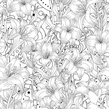 Seamless pattern with beautiful garden flowers - lilies and abstract ornament. Coloring page with botanic objects for wrapping paper, cover of coloring book or textile. Vector illustration
