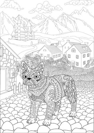 Coloring book for adults with cute bulldog standing in front of a cute village and a beautiful castle in the background Vettoriali