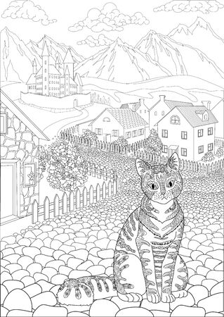 Coloring book for adults with cute cat sitting in front of a cute village and a beautiful castle in the background Vettoriali