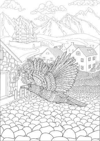Coloring book for adults with crow flying in front of a cute village and a beautiful castle in the background
