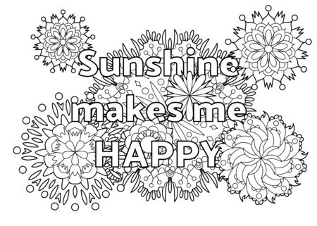 Vector coloring book for adults with inspiring quote and mandala flowers in the style with editable line 向量圖像