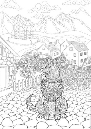 Coloring book for adults with cute dog sitting in front of a cute village and a beautiful castle in the background