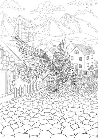 Coloring book for adults with dove flying in front of a cute village and a beautiful castle in the background
