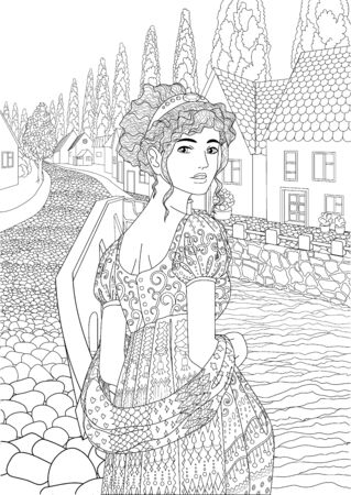 beautiful princess dressed in historical outfit in the empire style standing in the cute european village