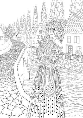 beautiful medieval princess dressed in historical outfit standing in the cute european village