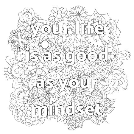 Vector for adults with inspirational quote and mandala flowers.