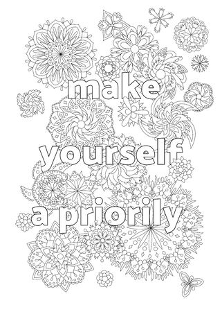 Vector  for adults with inspirational quote and mandala flowers. 向量圖像