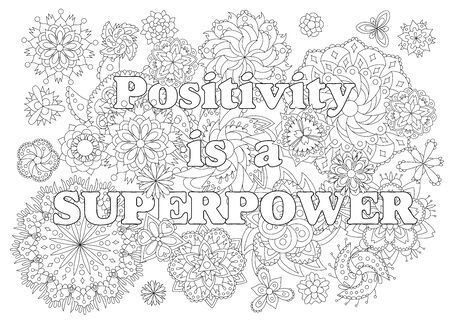 Vector  for adults with inspirational quote and mandala flowers.  イラスト・ベクター素材