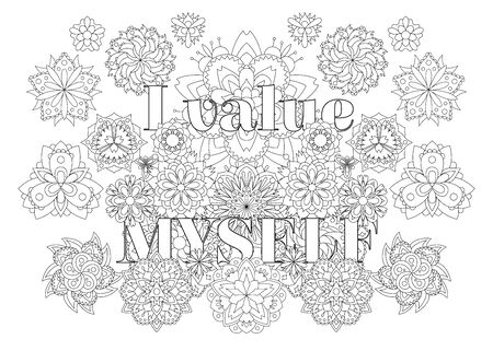 Vector  for adults with inspirational bodypositive quote and mandala flowers.