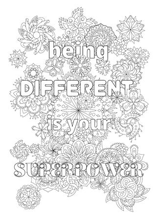 Vector  for adults with inspirational quote and mandala flowers .  イラスト・ベクター素材
