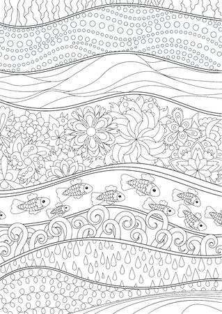 Sea background with high details. Adult antistress e with abstract sea background. Art-therapy for people with dementia or anxiety disorder