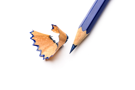 A top view of a pencil on white background