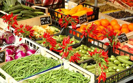 Vegetables on display in French open air market. Stock Photo