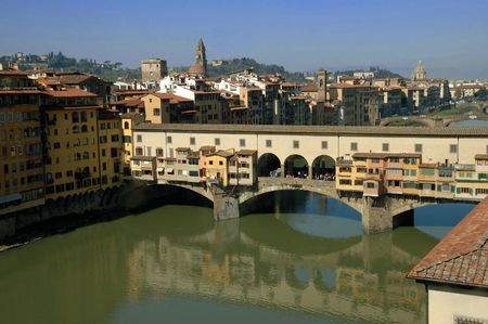 Old Ponte Vecchio bridge over the Arno in Florence Italy. Stock Photo