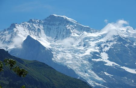 View of the Jungfrau peak and glacier from Murren in the Swiss Alps.