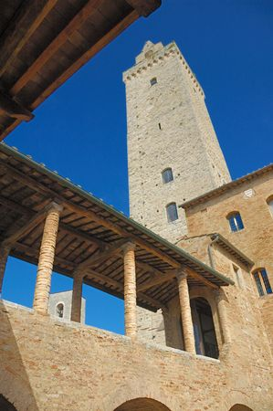 View of the Torre Grossa in San Gimignano, Italy from the Museo Civico.   Stock Photo